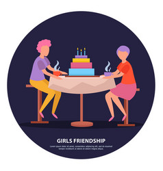 girls friendship orthogonal background vector image