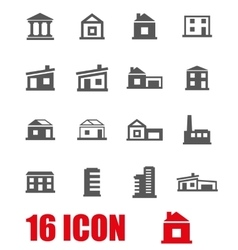 Grey buildings icon set vector