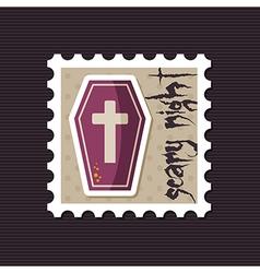 Halloween Coffin stamp vector