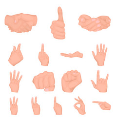 Hand gesture cartoon icons in set collection for vector