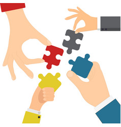 hands solving jigsaw vector image