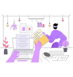 Hands typing an article on laptop screen content vector