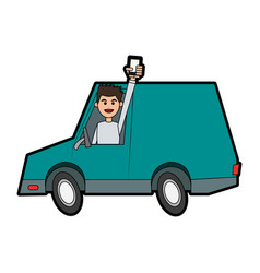 Happy man holding cellphone while driving car icon vector