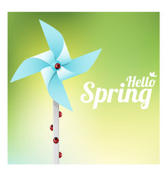 hello spring with ladybugs on colorful pinwheel vector image