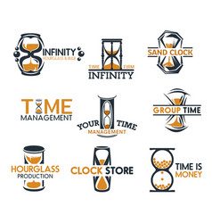 hourglasses and sandglass clock icons vector image