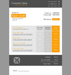 Invoice template orange - clean modern style vector