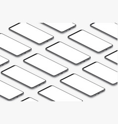 isometric black realistic smartphones with blank vector image
