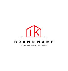 Letter ik home logo design concept vector