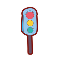 line color traffic light object to urban caution vector image