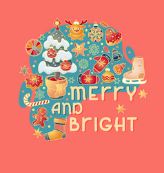 merry and bright christmas badge with greeting vector image