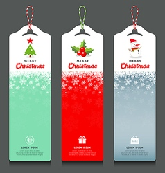 Merry Christmas label and rope vertical design vector