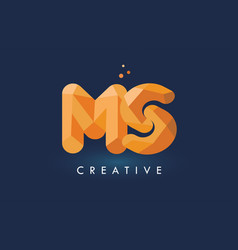 Ms letter with origami triangles logo creative vector