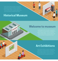 Museum Isometric Banners Set vector