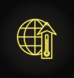 Neon global warming icon in line style vector