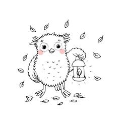 Owl with a lantern vector