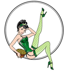 Patricks day theme sexy pin-up leprechaun girl vector