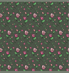 pattern flower pink rose green background spring vector image