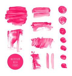 Pink watercolor dry brush stroke texture kit vector