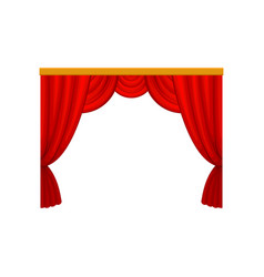 Red curtains with lambrequins for theater or vector