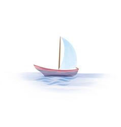Sailboat boat in sea summer holiday sign vector