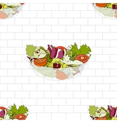 Salad Bowl on White Brick Wall vector