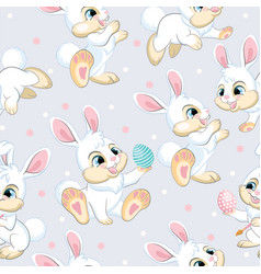 Seamless pattern white bunnies soft gray vector