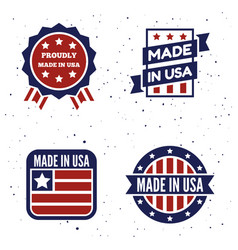 set made in usa logo labels and vector image