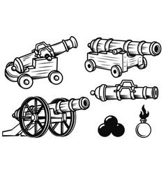 Set of ancient cannons design elements for logo vector
