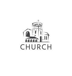 Simple template logo icon abstract church vector