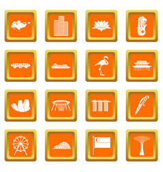 Singapore icons set orange vector