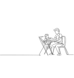 Single continuous line drawing young dad vector