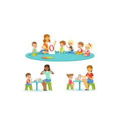 speech therapist working with preschool children vector image