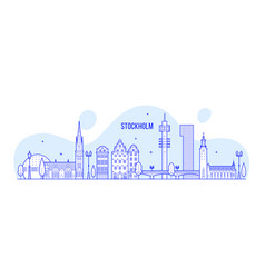 Stockholm skyline sweden city buildings vector