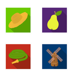 Straw hat pear with leaf watering hose windmill vector