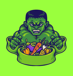 Strong hulk with vegan nutrition vector
