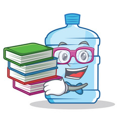 Student with book gallon character cartoon style vector