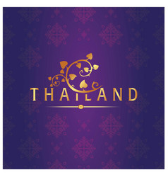 thailand bodhi leaves thai design purple backgroun vector image