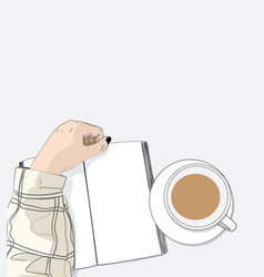 the girl is reading a book and drinking a coffee vector image