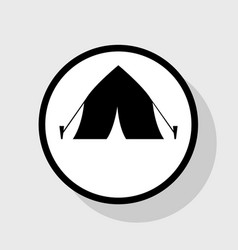 tourist tent sign flat black icon in vector image