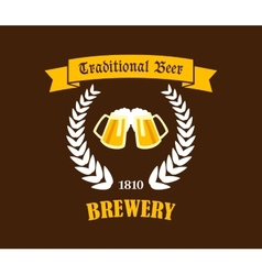 Traditional Beer emblem or label vector image