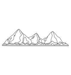 Tropical beach mountain line black and white vector