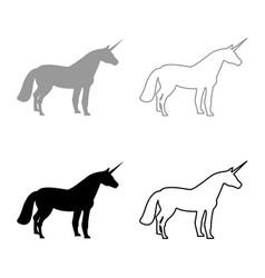 unicorn icon set grey black color vector image