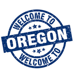 Welcome to oregon blue stamp vector