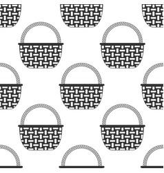 Wicker basket icon seamless pattern vector