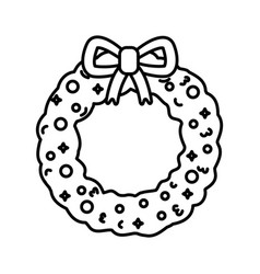 wreath garland ribbon merry christmas thick line vector image