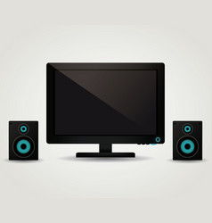computer with speakers vector image