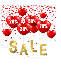 heart shaped balloons with sale advertisement vector image vector image