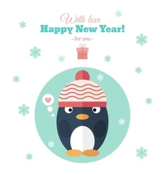 Holiday card with penguin in flat vector image vector image