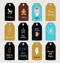 Set of 12 Christmas tags vector image