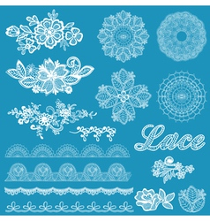 Set of lace ribbons flowers vector image vector image